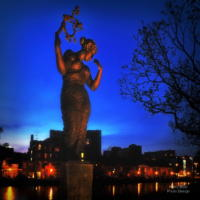 Freedom Statue at Night Leiden